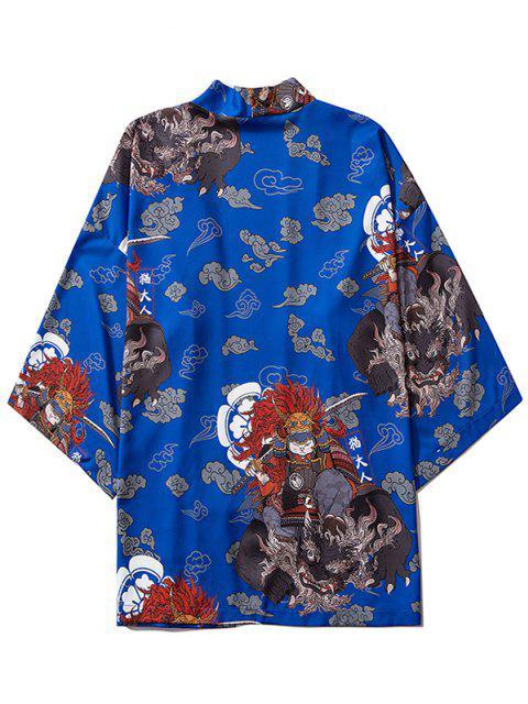 best Open Front Samurai Cat Graphic Kimono Cardigan - COBALT BLUE M Mobile
