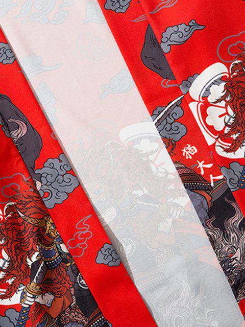 Cardigan Kimono Mandarin à Motif de Chat Hauteur Doublure et Ouvert Avant - Rouge XL Mobile