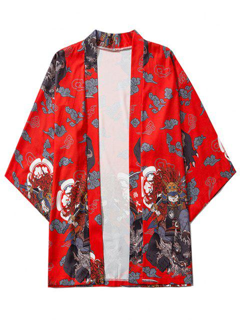 Geöffnetes Geschnittenes Grafik Kimono - Rot L Mobile