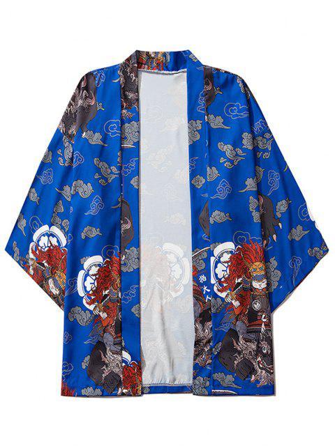 Cardigan Kimono Mandarin à Motif de Chat Hauteur Doublure et Ouvert Avant - Bleu Cobalt L Mobile