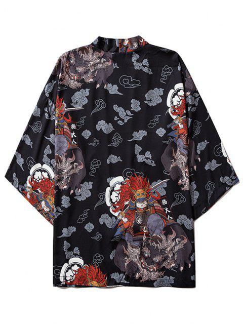 Cardigan Kimono Mandarin à Motif de Chat Hauteur Doublure et Ouvert Avant - Noir XL Mobile