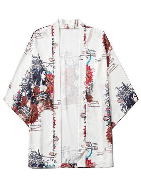 ladies Open Front Floral Geisha Samurai Print Kimono Cardigan - WHITE 2XL Mobile