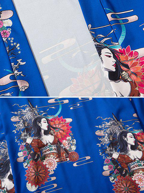 fancy Open Front Floral Geisha Samurai Print Kimono Cardigan - COBALT BLUE M Mobile