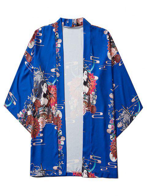 sale Open Front Floral Geisha Samurai Print Kimono Cardigan - COBALT BLUE L Mobile