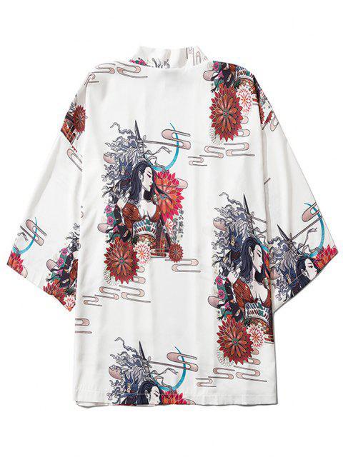 buy Open Front Floral Geisha Samurai Print Kimono Cardigan - WHITE XL Mobile