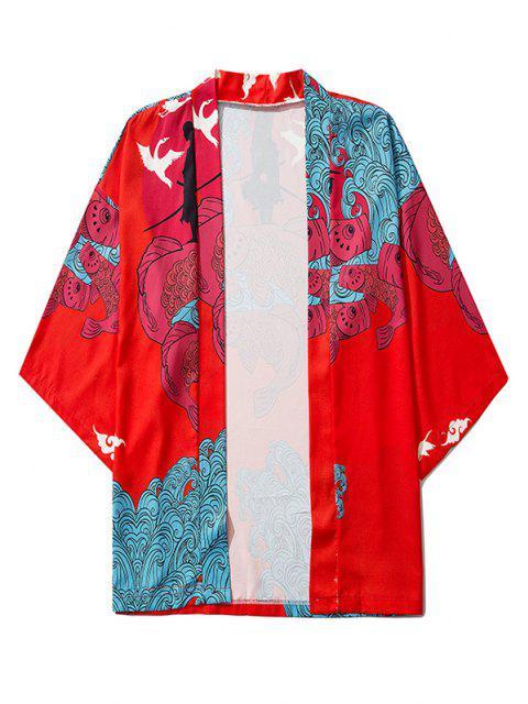 womens Koi Fish Waves Samurai Open Front Kimono Cardigan - RUBY RED XL Mobile