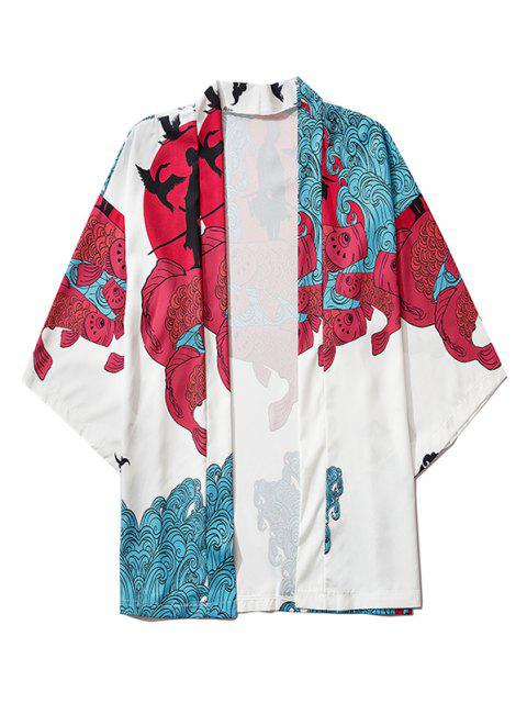 Koi Fish Waves Samurai Open Front Kimono Cardigan - حليب ابيض M Mobile