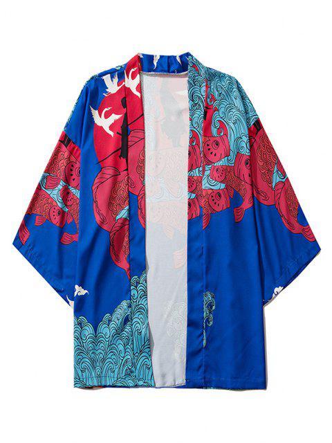 Cardigan Kimono Bande Dessinée Japonaise Design Ouvert sur le Devant - Bleu Myrtille XL Mobile
