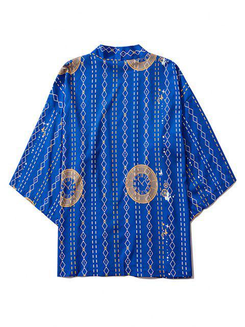 Offener Vorder Uhr Geometrische Druck Kimono - Kobaltblau M Mobile