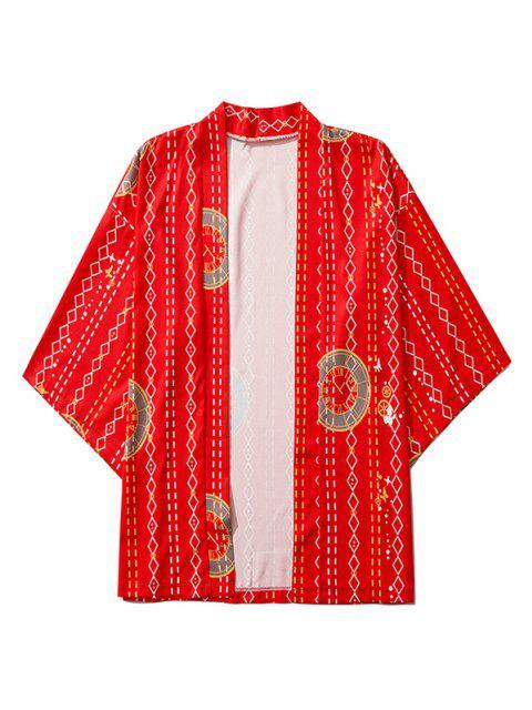 Cardigan Kimono Ouvert en Avant Géométrique Horloge Imprimée - Rouge 2XL Mobile