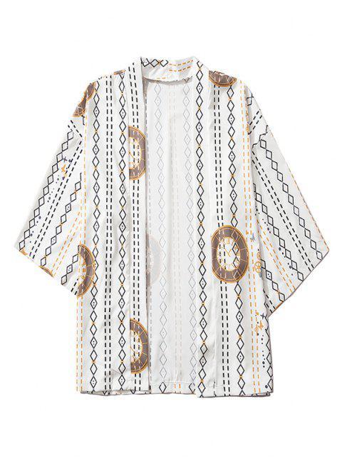 lady Open Front Clock Geometric Print Kimono Cardigan - WHITE 2XL Mobile
