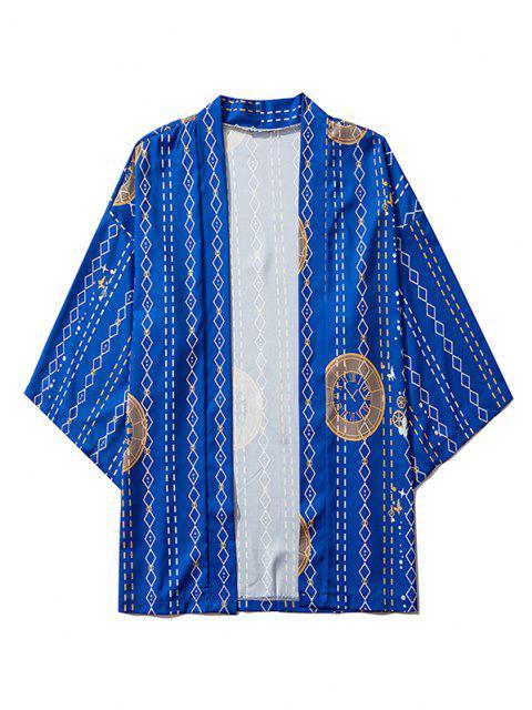 unique Open Front Clock Geometric Print Kimono Cardigan - COBALT BLUE XL Mobile