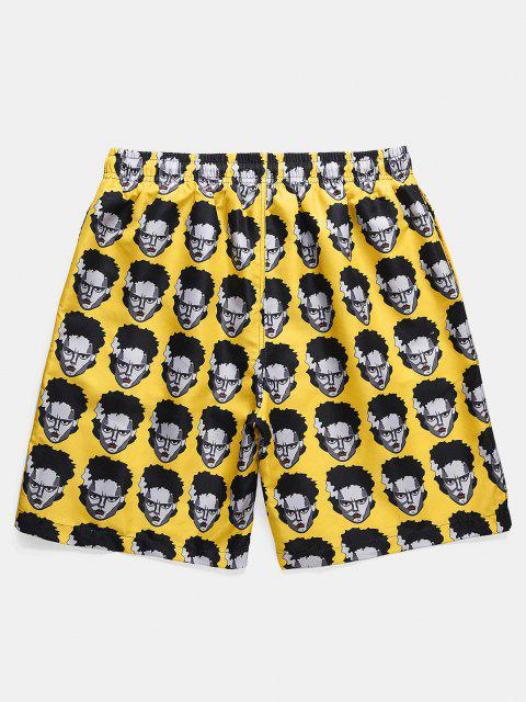 fashion Figure Head Pattern Elastic Waist Shorts - SUN YELLOW XL Mobile