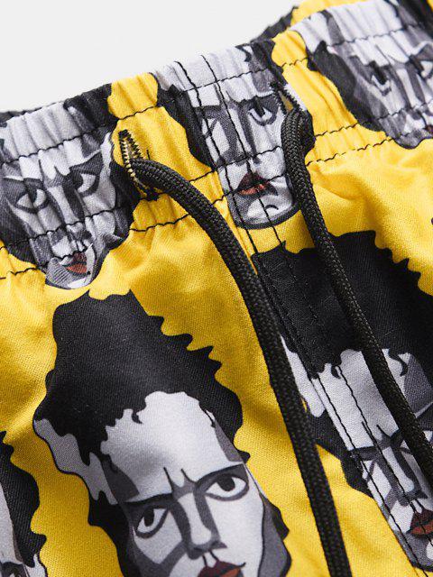 buy Figure Head Pattern Elastic Waist Shorts - SUN YELLOW M Mobile