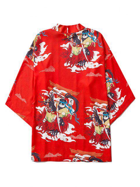 Cardigan Kimono Mandarin à Motif de Panda et Ouvert Devant - Rouge L Mobile