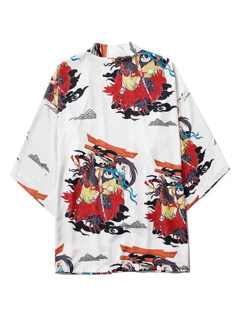 women's Open Front Panda Samurai Graphic Kimono Cardigan - MILK WHITE L Mobile