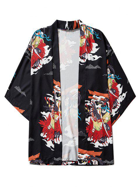 ladies Open Front Panda Samurai Graphic Kimono Cardigan - BLACK XL Mobile