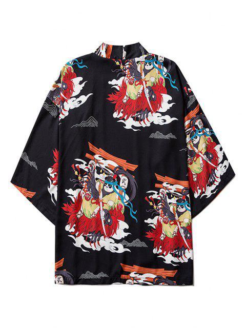 Cardigan Kimono Mandarin à Motif de Panda et Ouvert Devant - Noir L Mobile