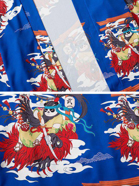 hot Open Front Panda Samurai Graphic Kimono Cardigan - COBALT BLUE M Mobile
