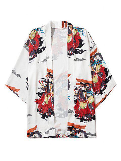 fashion Open Front Panda Samurai Graphic Kimono Cardigan - MILK WHITE M Mobile
