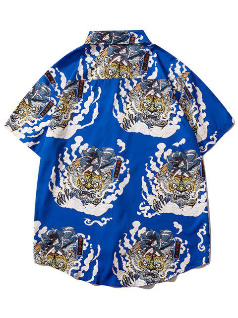 Geisha Samurai Tiger Print Urlaub Hemd - Kobaltblau M Mobile