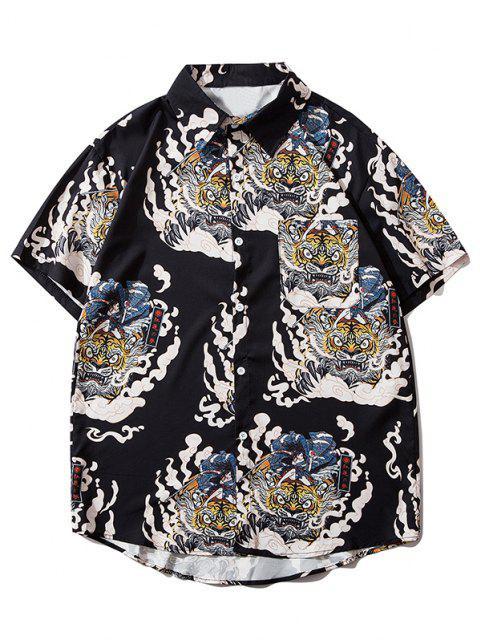 women Geisha Samurai Tiger Print Vacation Shirt - BLACK L Mobile