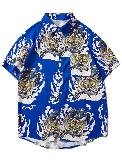 fashion Geisha Samurai Tiger Print Vacation Shirt - COBALT BLUE XL Mobile