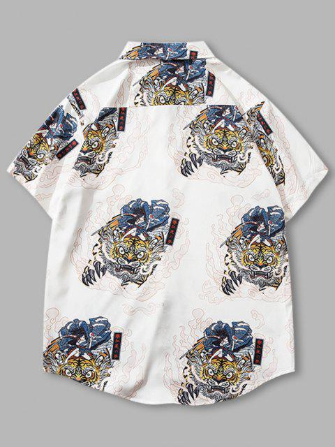 sale Geisha Samurai Tiger Print Vacation Shirt - WHITE XL Mobile