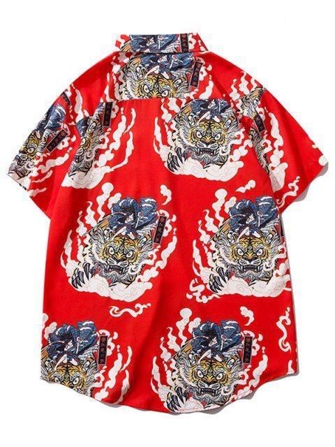 womens Geisha Samurai Tiger Print Vacation Shirt - RUBY RED L Mobile