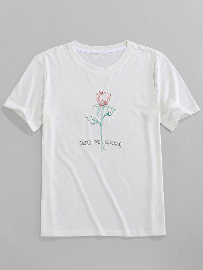 ZAFUL Short Sleeve Rose Pattern Embroidery T-shirt - White L