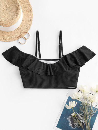 ZAFUL Ribbed Ruffle Cold Shoulder Bikini Top - Black M