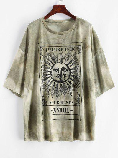 Sun And Moon Letter Print Oversized Tee - Green S