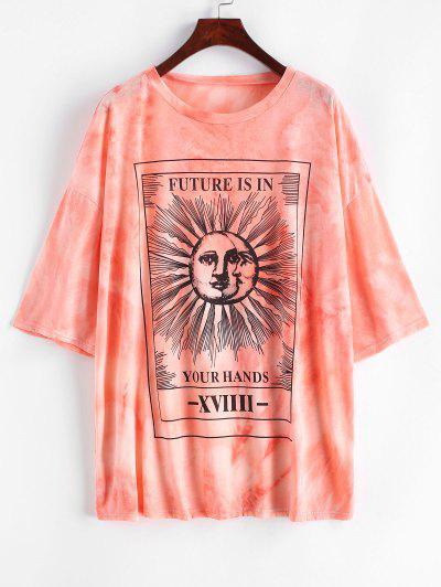 Camiseta SueltaconEstampadode Sol,LunayLetras - Rosa Claro L