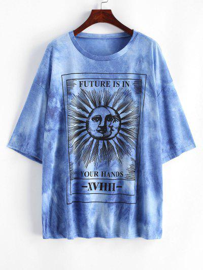 Sun And Moon Letter Print Oversized Tee - Blue L