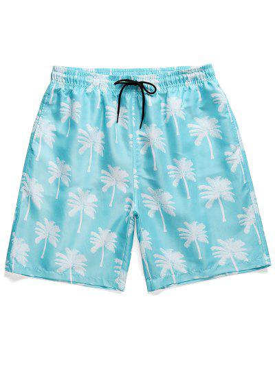 Palm Tree Print Board Shorts - Sky Blue M