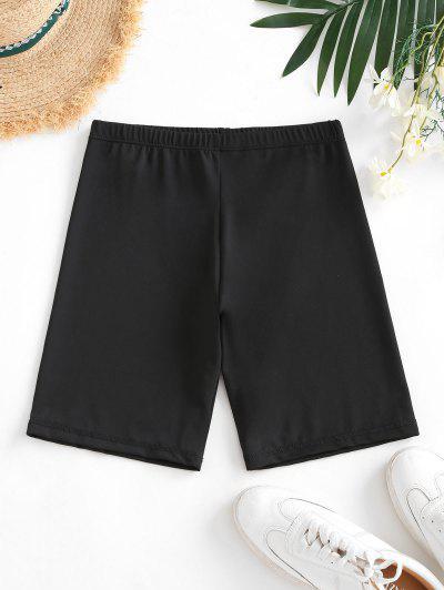 Cintura Alta Estirada Lisa Biker Shorts - Preto S