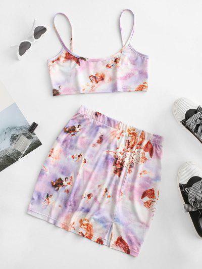 Tie Dye Angel Print Renaissance Two Piece Dress - Light Purple L