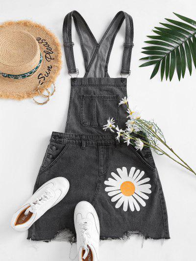 Daisy Flower Raw Cut Suspender Denim Dress - Black 2xl