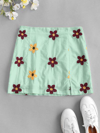 Flower Embroidered Slit A Line Skirt - Green S