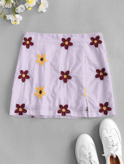 Flower Embroidered Slit A Line Skirt - Purple S