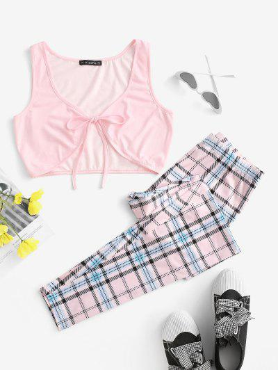 Checked Tie Front Two Piece Set - Light Purple M