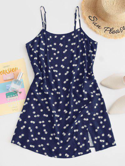 ZAFUL Daisy Floral Slit Cami Mini Dress - Deep Blue S