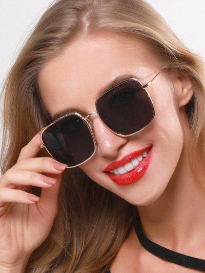 Óculos De Sol De Tamanho Grande Gravado Em Metal - Preto