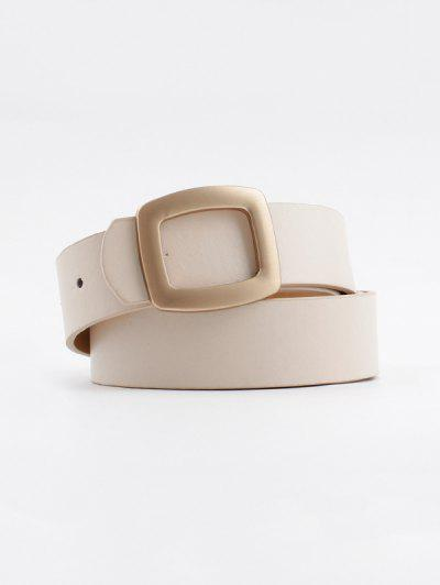 Hollow Square Buckle Wide Belt - ベージュ