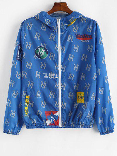 Letter Graphic Lightweight Sunproof Hooded Jacket - Blue L