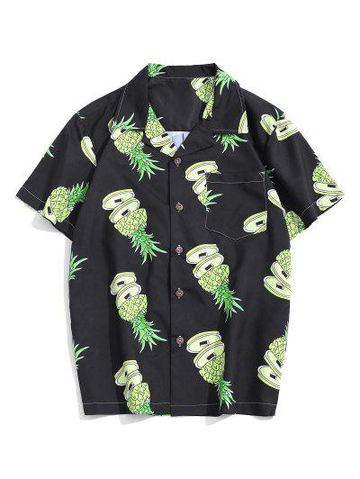 Pineapple Pattern Pocket Patch Vacation Shirt - Multi S