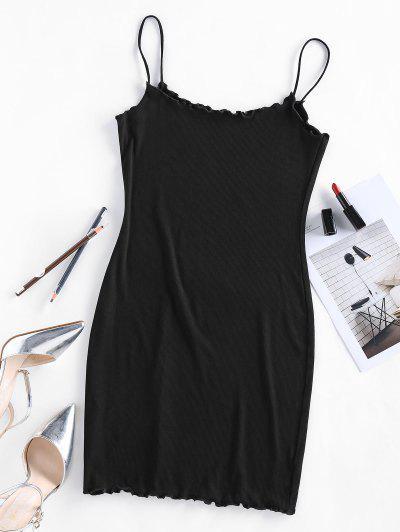 ZAFUL Lettuce Trim Ribbed Mini Cami Dress - Black M