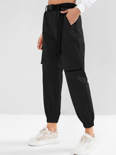 ZAFUL Zipper Pockets Belted Windbreaker Jogger Pants - Black Xl