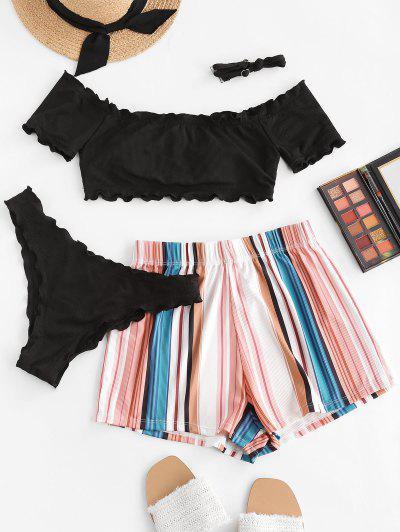 ZAFUL Lettuce-trim Off Shoulder Ribbed Three Piece Bikini Swimsuit - Black L