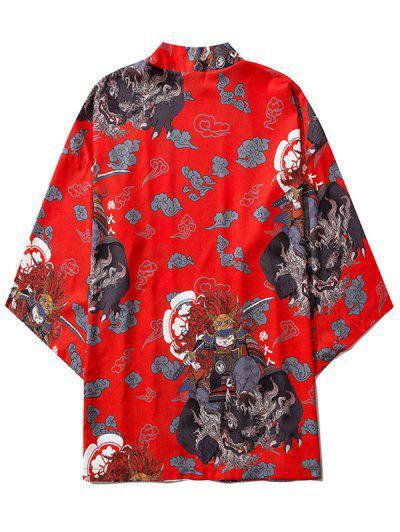 Open Front Samurai Cat Graphic Kimono Cardigan - Red 2xl